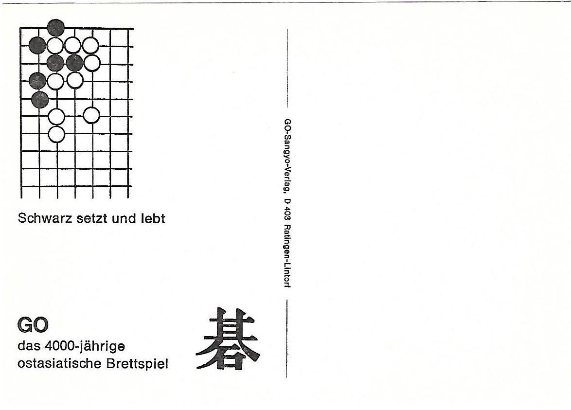 1 schwarz setzt und lebt, go problems sangyo verlag postcards tsumego
