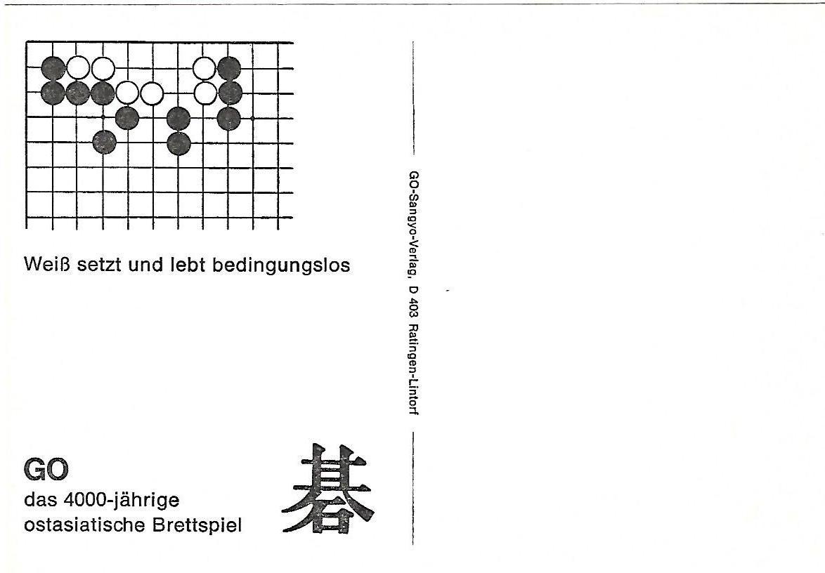 5 weiss setzt und lebt bedinungslos, go problems sangyo verlag postcards tsumego