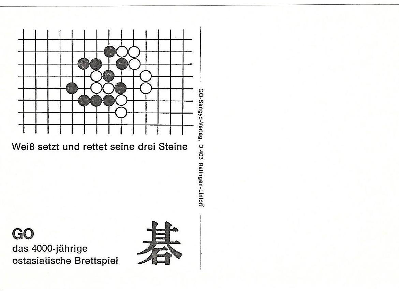 6 weiss setzt und rettet seine drei steine, go problems sangyo verlag postcards tsumego
