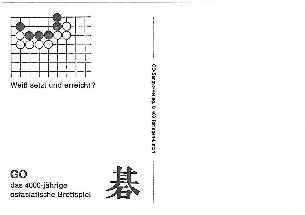 7 weiss setzt und erreicht, go problems sangyo verlag postcards tsumego