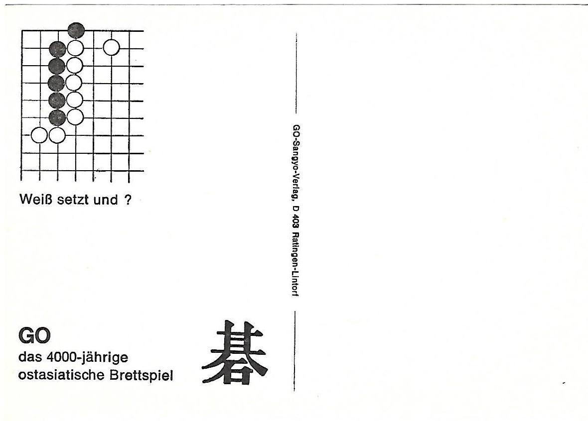 8 weiss setzt und, go problems sangyo verlag postcards tsumego